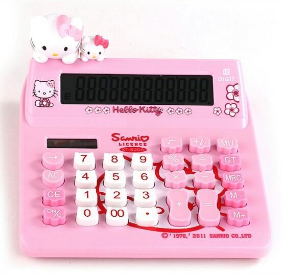 헬로키티 엄마와 아기 가족 전자 계산기 캐릭터계산기