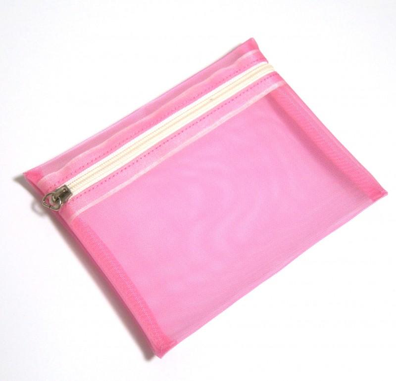 핑크색상 컬러 메쉬 파우치 [판촉물, 여행용, 포장용]