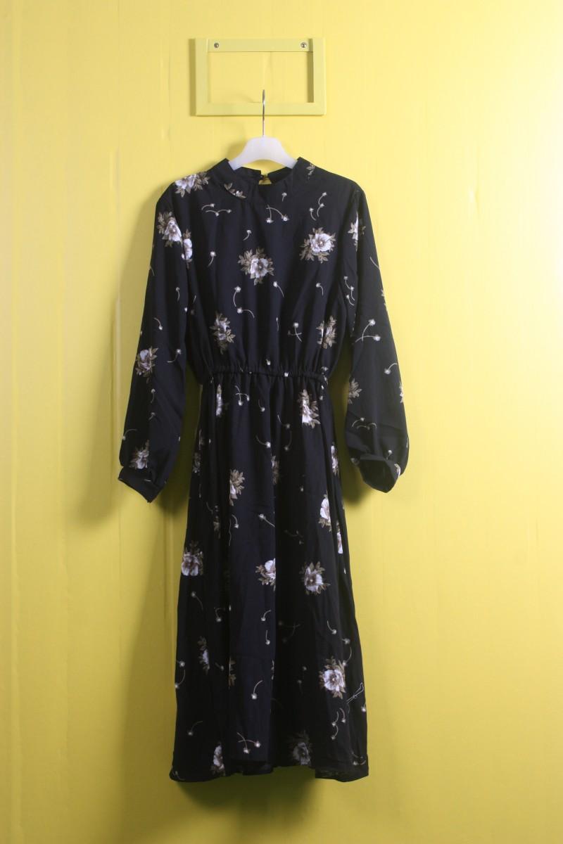 케세라세라-꽃무늬검정 원피스