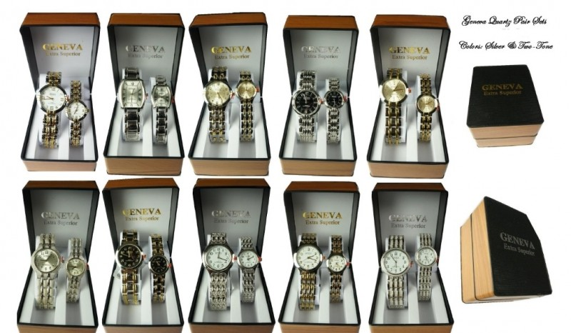 SWISS BRAND GENEVA quartz HIS n HERS WATCH Pair Sets