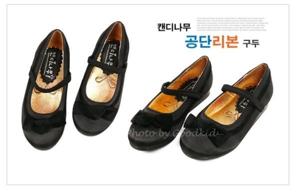 캔디나무 공단 리본 구두 블랙 여아용 신발 아동 단화
