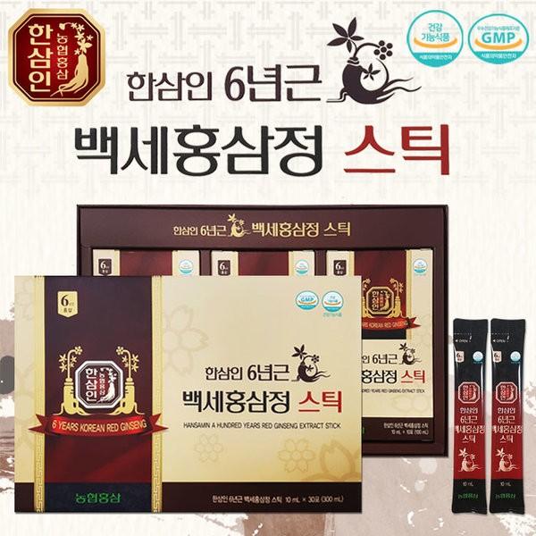 정품)한삼인 6년근 백세홍삼정 스틱 30포 (당일배송)