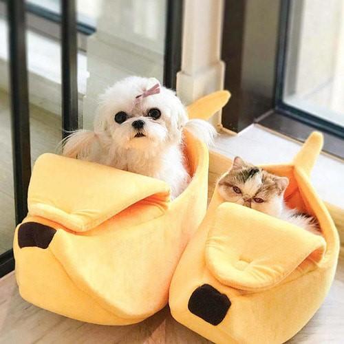 강아지 고양이 바나나침대
