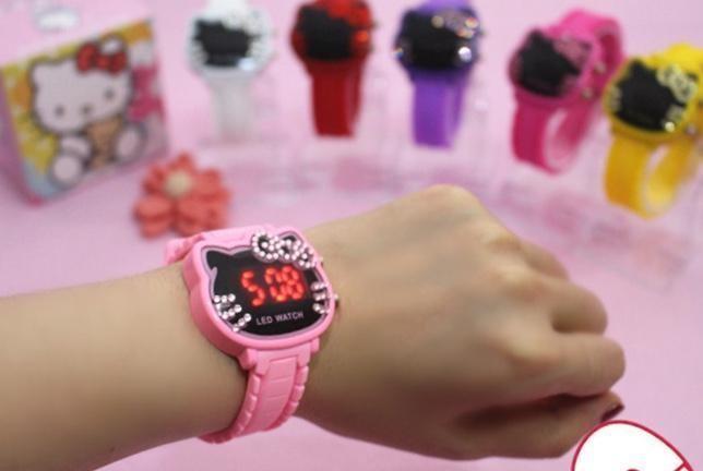 키티 led전자손목시계