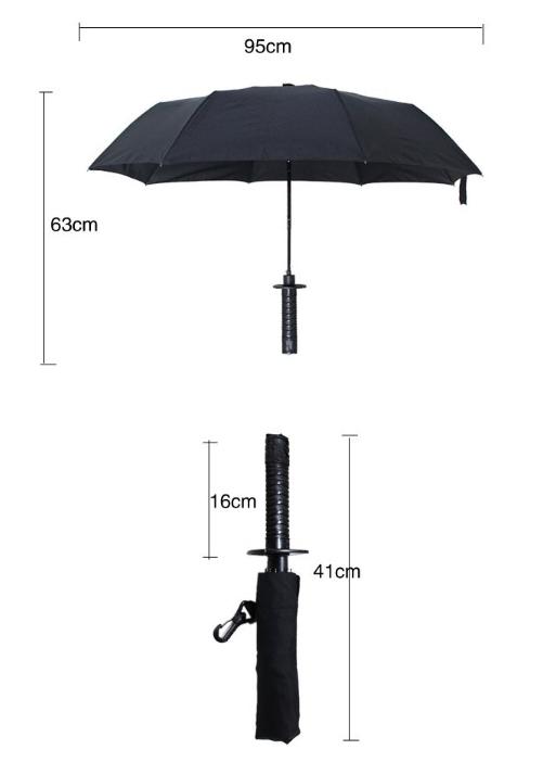 사무라이 단검 3단접이식 자동우산