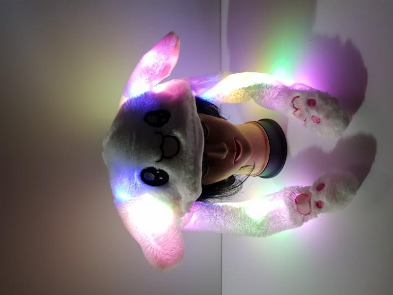 led전체발광 움직이는귀 토끼모자 동물모자 움직이는토끼모자 led모자