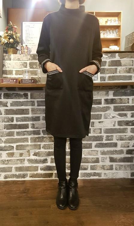 [완사입] 여성 기모 블랙 원피스 - 10장 4000원