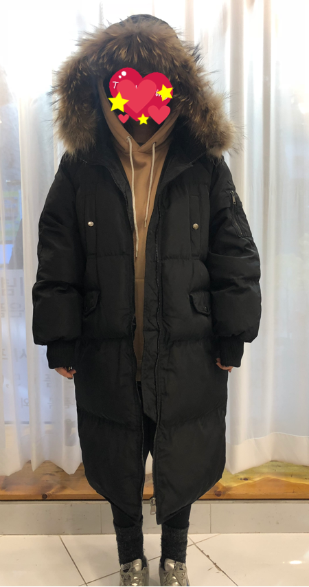 오리털 롱 패딩/리얼라쿤
