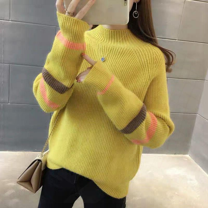 반폴라 따뜻하고 아름다운 배색 줄 스웨터 여성니트