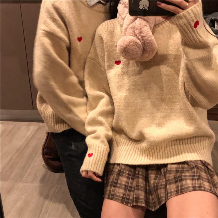 하트 포인트 남녀공용 커플 스웨터 니트