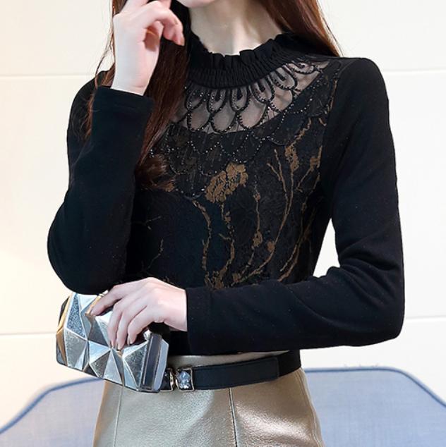 수입 레이스 벨벳 시스루 복고풍 블라우스 셔츠