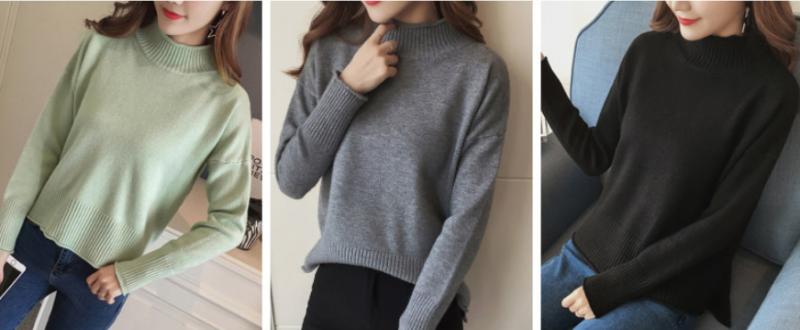 반목 여성 데일리 심플 기본 스웨터 니트