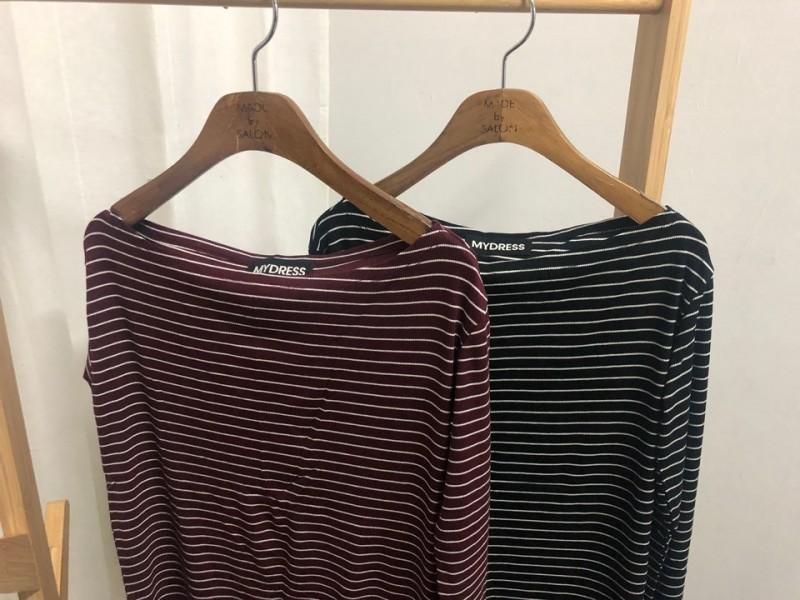 [완사입/파샬] 보트넥 스트라이프 골지 티셔츠 2컬러 - 14장 3500원