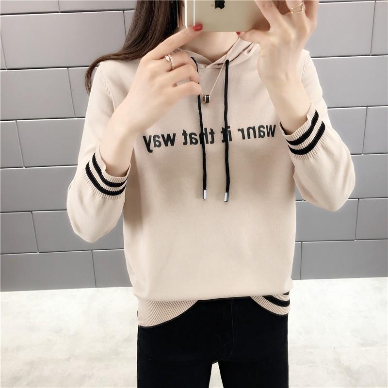 배색줄무늬 후드 스웨터 여성니트