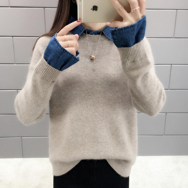 셔츠카라 여성 스웨터 니트