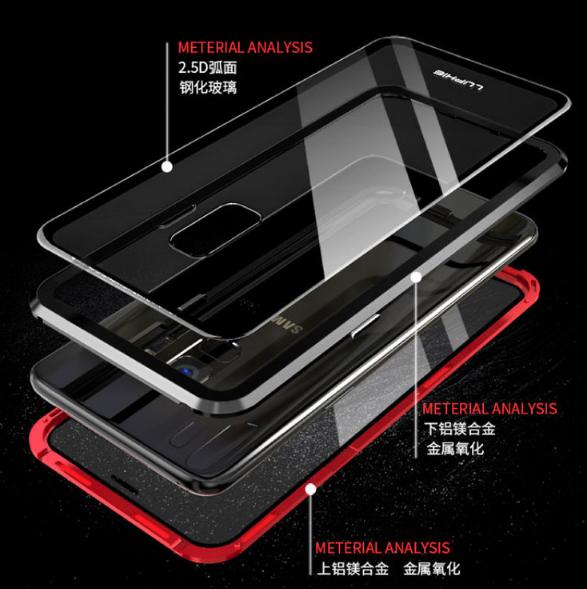 S9 S9PLUS NOTE9전후면강화유리마그네틱 핸드폰케이스입니다