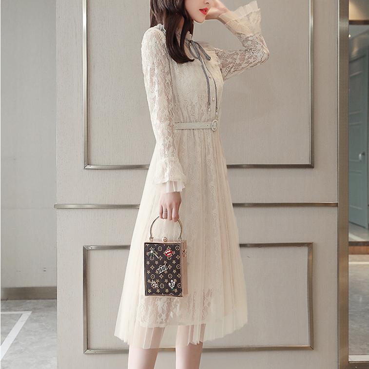 슬림핏 허리벨트 여성 레이스 드레스