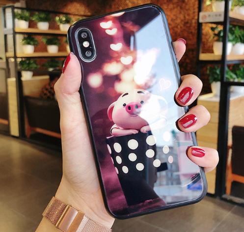 귀여운돼지 크리스탈강화유리 휴대폰케이스입니다