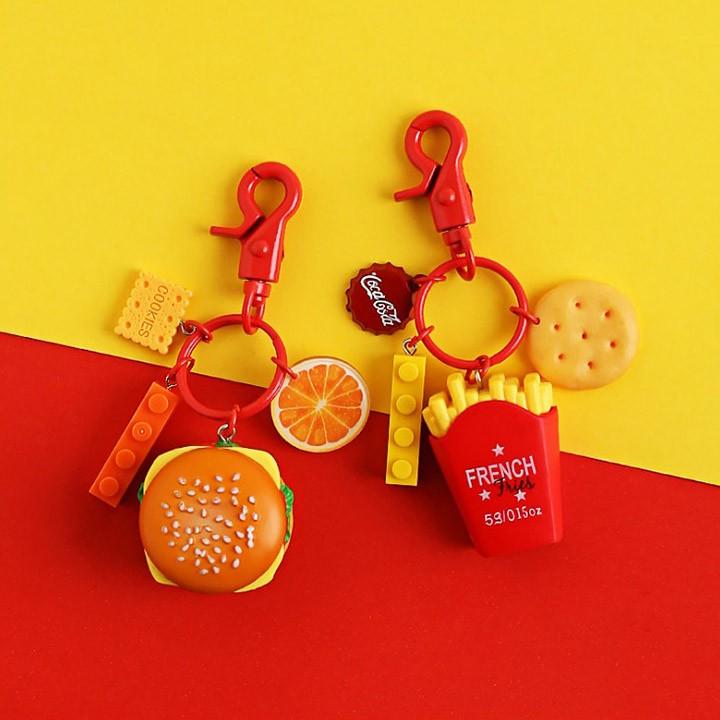 햄버거 감자튀김 음식 미니어쳐 키링 열쇠고리