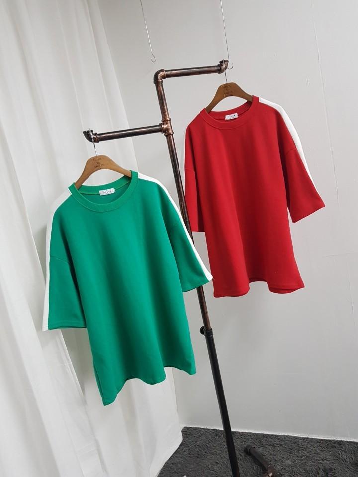 [완사입/파샬] 어깨 배색 2컬러 티셔츠 - 32장 2500원