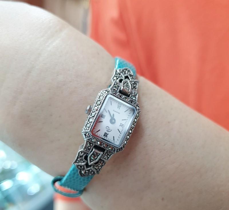 일본 실버 명품 브랜드 로쿠잔 가죽 시계
