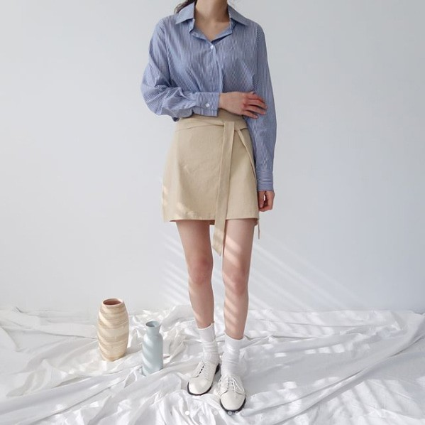 [완사입/파샬] 스트라이프 반오픈 셔츠 - 32장 3000원