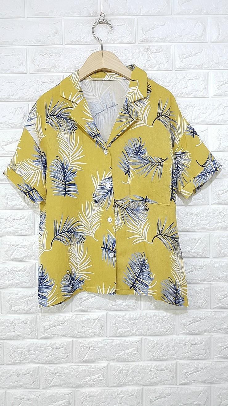 a681 나뭇잎 반소매 셔츠