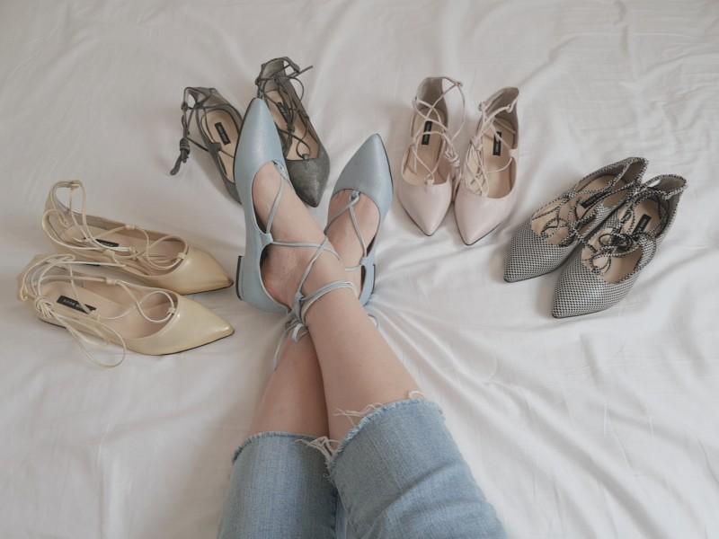 뾰족끈 단화신발